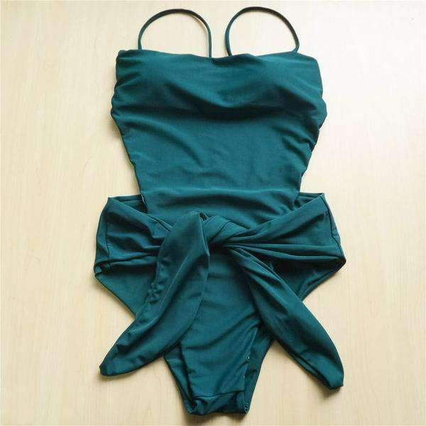 MiraVoss.com:Wrap Around High Cut Leg One Piece Swimsuit,Green / S