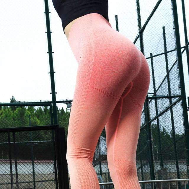 MiraVoss.com:Seamless Stretchy High Waist Fitness Leggings Hip Push Up,Orange / L