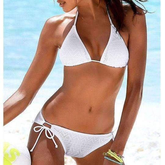 MiraVoss.com:Solid Push Up Halter Mesh Bikini,White / L