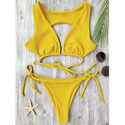 MiraVoss.com:Textured Plunge Bikini Top and Bottoms,Yellow / L