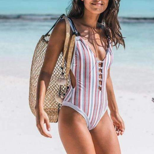MiraVoss.com:One Piece Striped Floral V Neck Monokini,White Striped / S