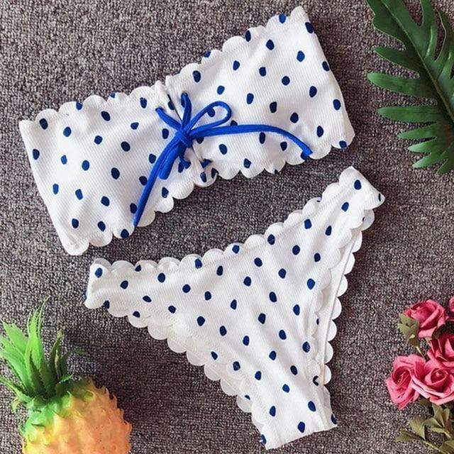 MiraVoss.com:Polka Dot Bikini Set Lace Up Bandeau,White Lace Blue / L