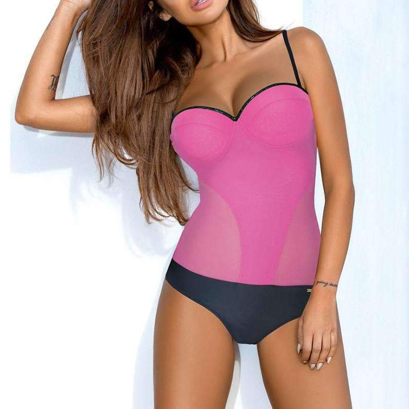 MiraVoss.com:Fused Bather Thong Backless Monokini,Pink / L
