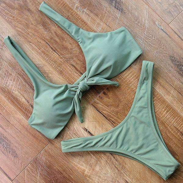MiraVoss.com:Scoop Neck Solid High Cut Bathing Suit,Army Green / L