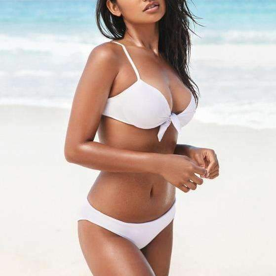 MiraVoss.com:Bow Push Up Brazilian Bathing Suit,White / S