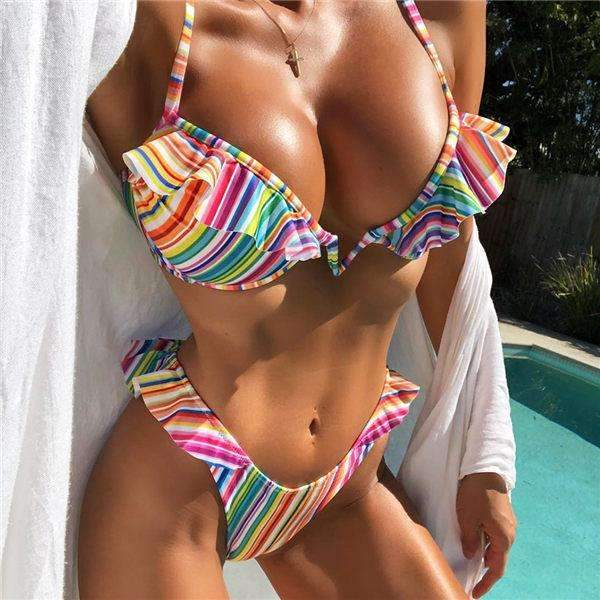 MiraVoss.com:V Neck Leopard/Striped Ruffled Swimwear,Rainbow Color Stripe / L