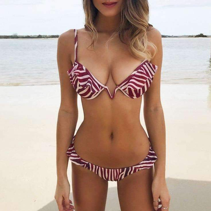 MiraVoss.com:V Neck Leopard/Striped Ruffled Swimwear,Red Striped Printed / M