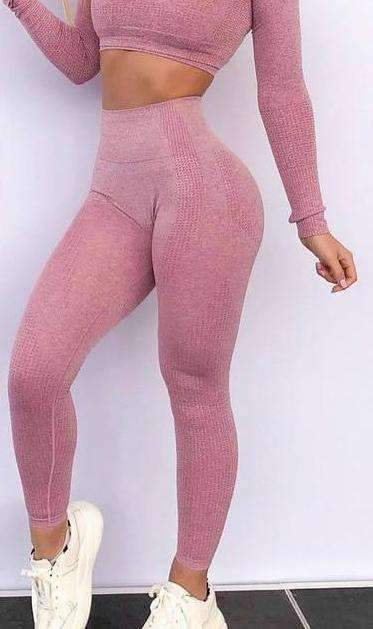 MiraVoss.com:Energy Seamless High Waist Leggings Gym & Yoga,Pink / S