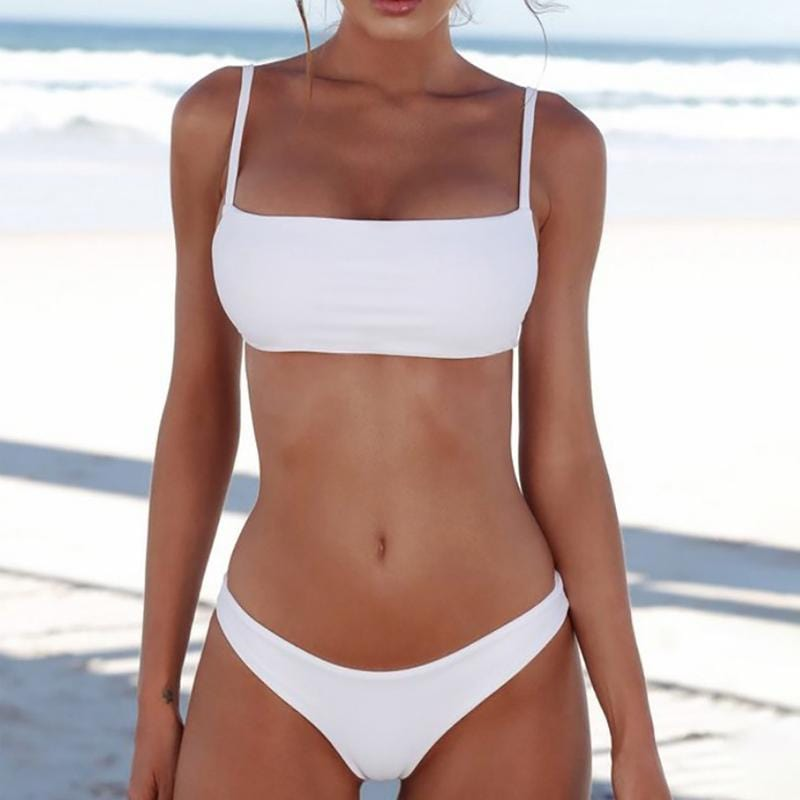 Solid Bandeau Bralette Swimsuit - Two Piece