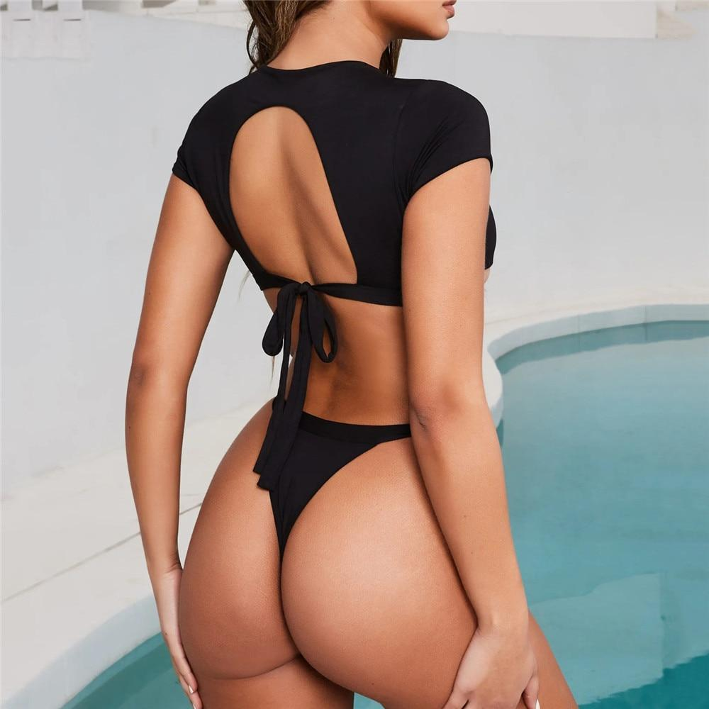 Two Piece Bikini High Leg Swimsuit Thong