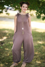 Load image into Gallery viewer, Mocha Over-sized Jumpsuit with Tie Shoulders