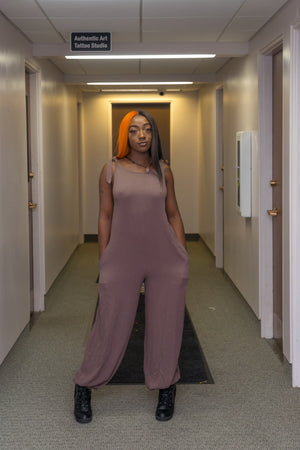 Mocha Over-sized Jumpsuit with Tie Shoulders