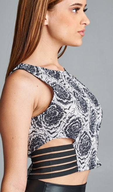 Floral Crop Top with Side Cutout