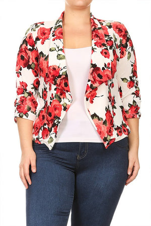 Plus size Draped Neck Floral Print Blazer