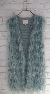 Dusty Mint Fuzzy Vest