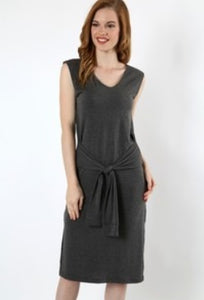 Charcoal Faux Sleeve Waist Wrap Dress
