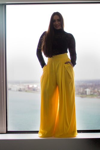High Waisted Marigold Pleated Pants