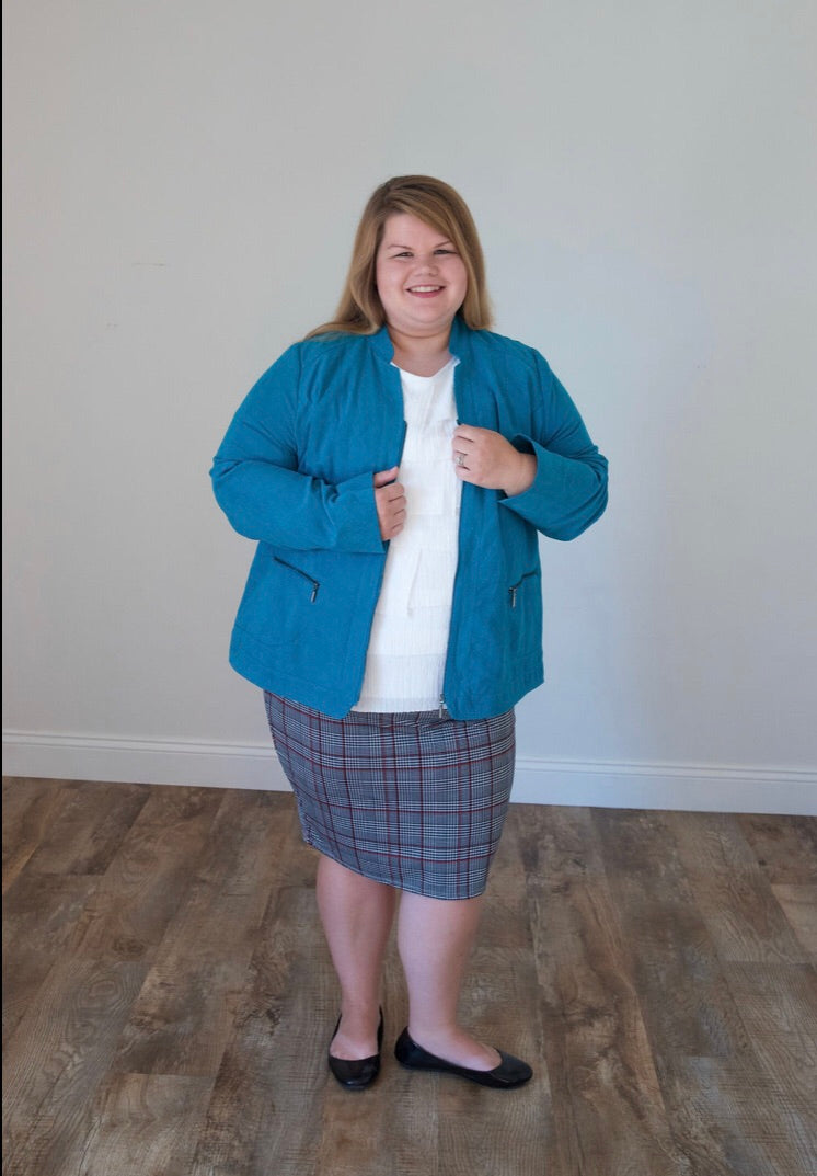 Faux Suede Turquoise Jacket