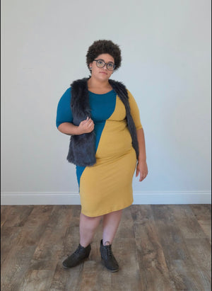 Teal & Mustard LuLaRoe Dress