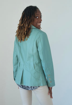 Mint Green Leather Jacket