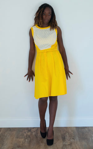Marigold Dress with White Lace Accents