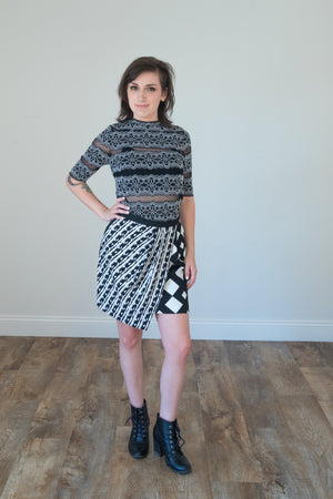 Geometric Mixed Print skirt