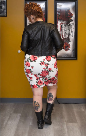 Plus-size Floral Print Pencil Skirt