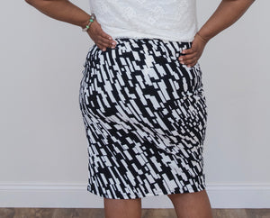 Black and White Abstract Pencil Skirt