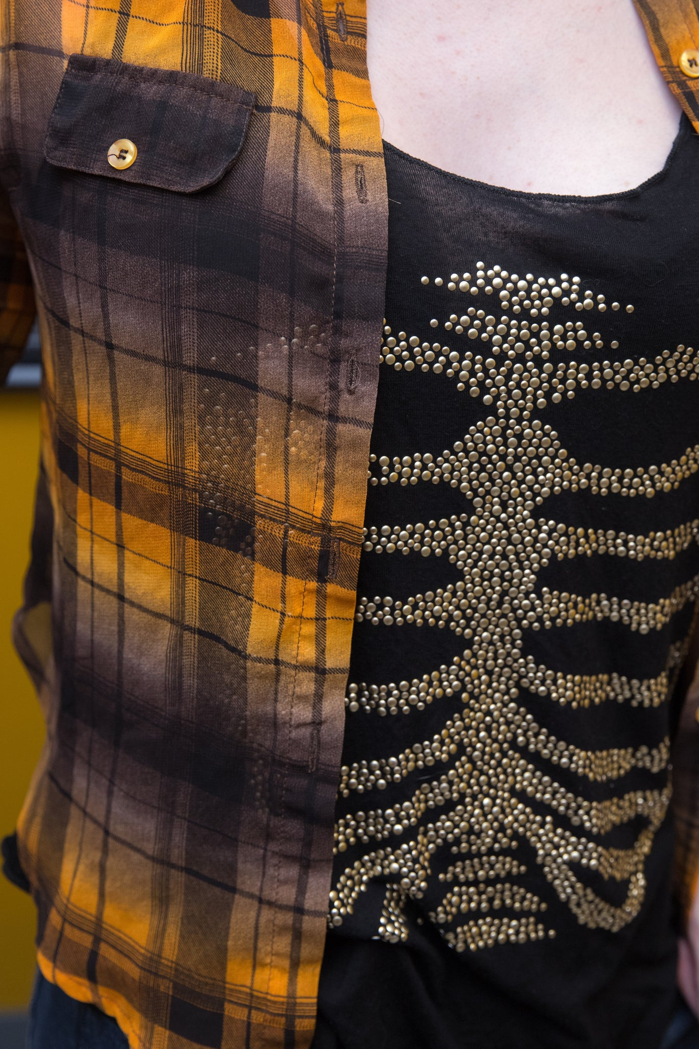 Black and Gold Skeleton Tank