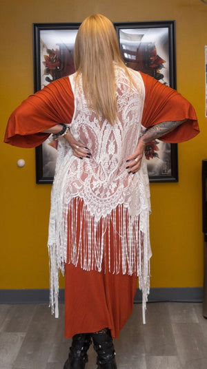Lace Cardigan with Fringe Hem