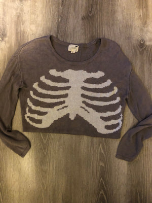 Grey Skeleton Sweater Crop
