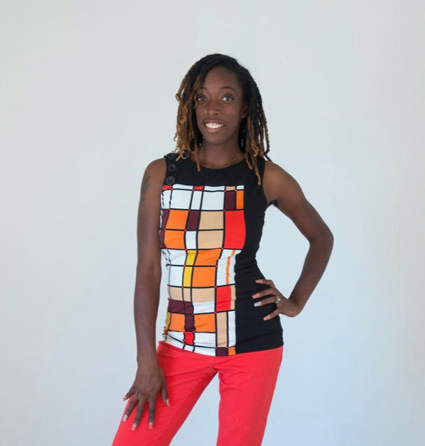 Suzy Shier Color Block Top