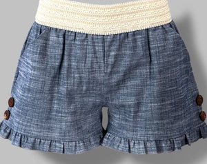 Chambray Ruffle Shorts
