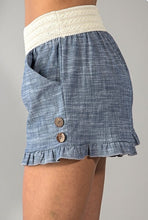 Load image into Gallery viewer, Chambray Ruffle Shorts
