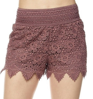 Mauve crotchet lace shorts