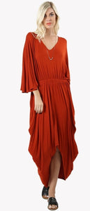 Copper V-neck Drape dress