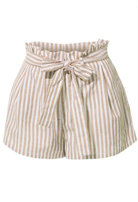 High Waisted Taupe Striped Shorts