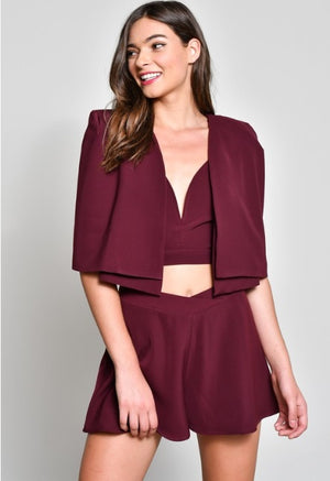 Structured Cape Crop Jacket