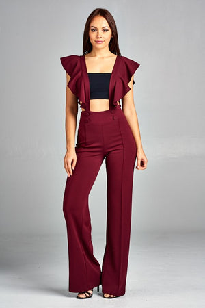 Wine Ruffle Sleeve Jumpsuit