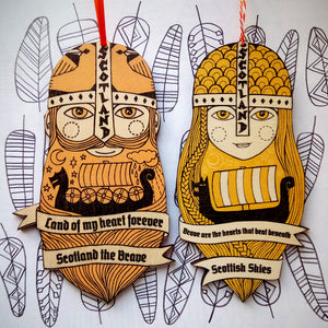 Viking man wooden decoration