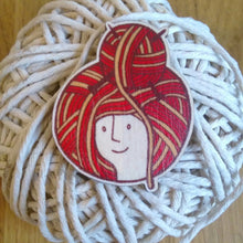 Woolly wooden Brooch