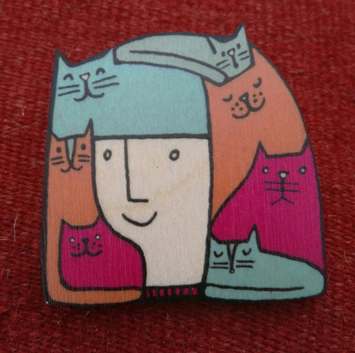 Catlady wooden brooch