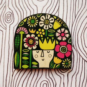 Flora wooden brooch