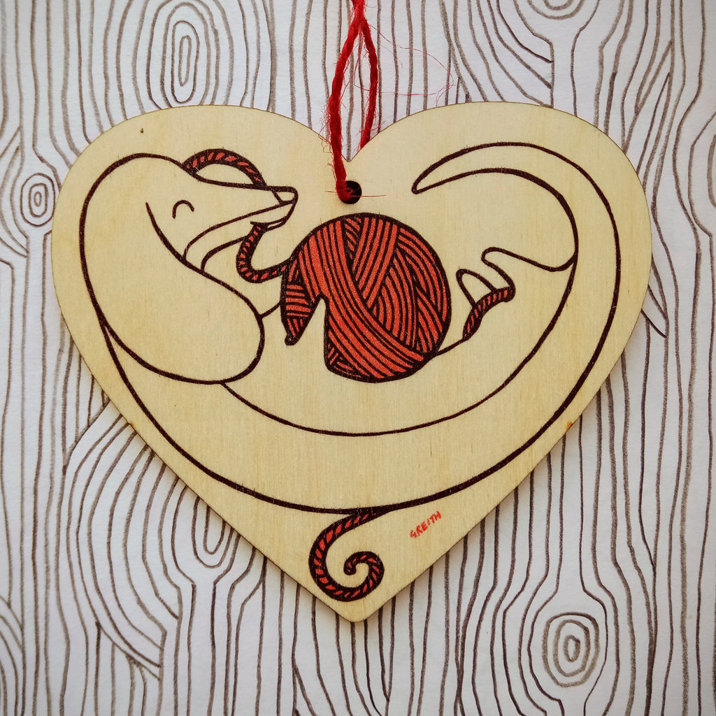 Sausage Dog wooden heart decoration