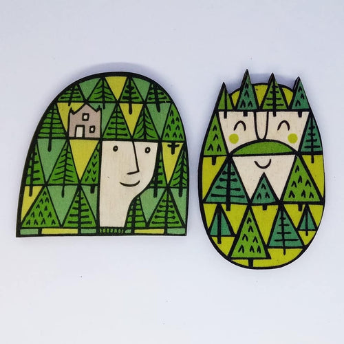 Pine wooden brooch