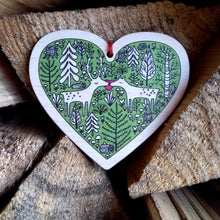 Dear Deer wooden heart decoration