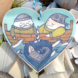 Fisher Birds wooden heart