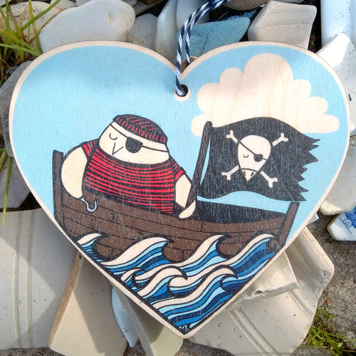 Pirate bird wooden heart