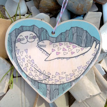 Seal wooden heart decoration