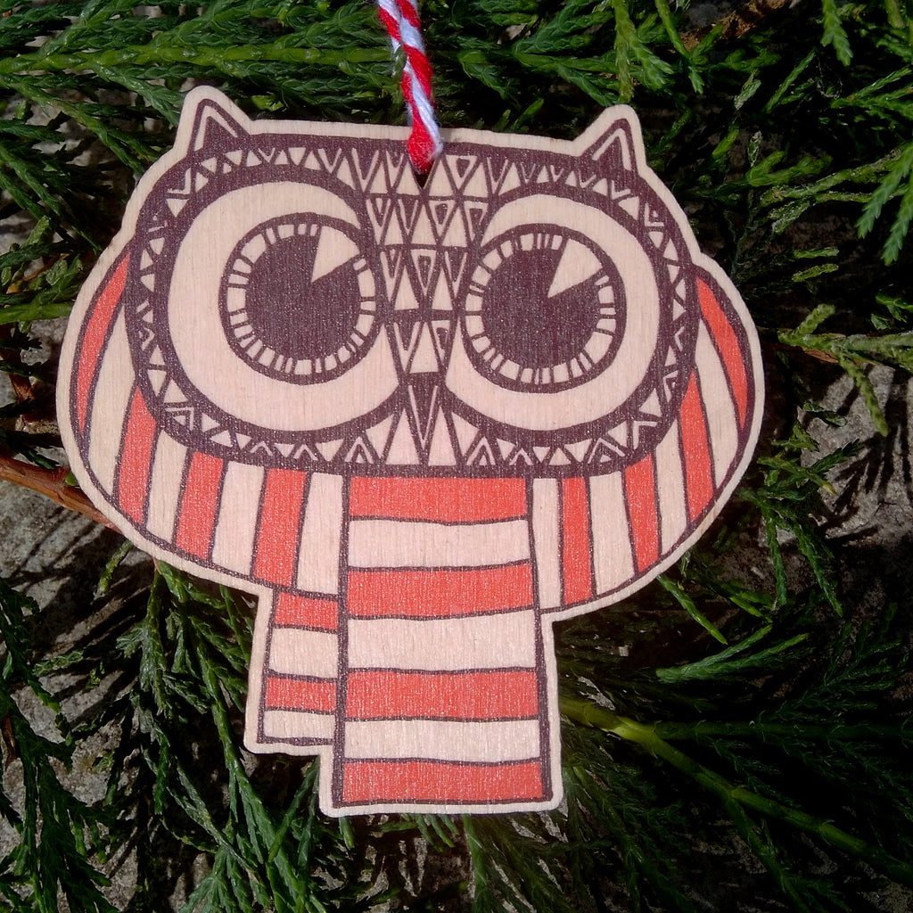 SALE - Owl wooden decoration